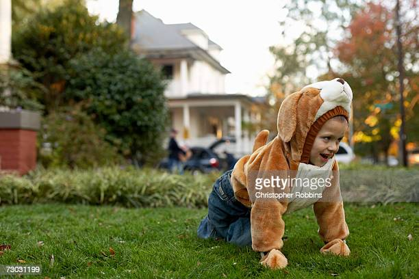 Girl (3-4) wearing rabbit costume crawling on lawn