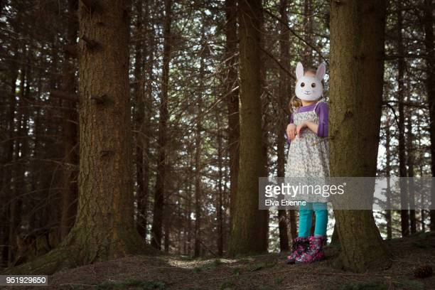 girl wearing rabbit mask amongst trees in the black forest - black mask disguise stock pictures, royalty-free photos & images