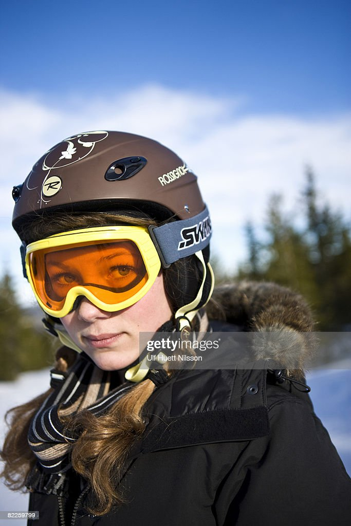A girl wearing ski goggles Sweden. : Stock Photo