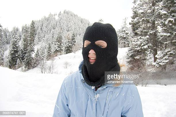 girl (11-13) wearing ski mask, winter - balaclava stock pictures, royalty-free photos & images