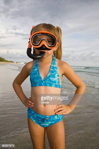 Girl wearing snorkeling gear, Florida, United States