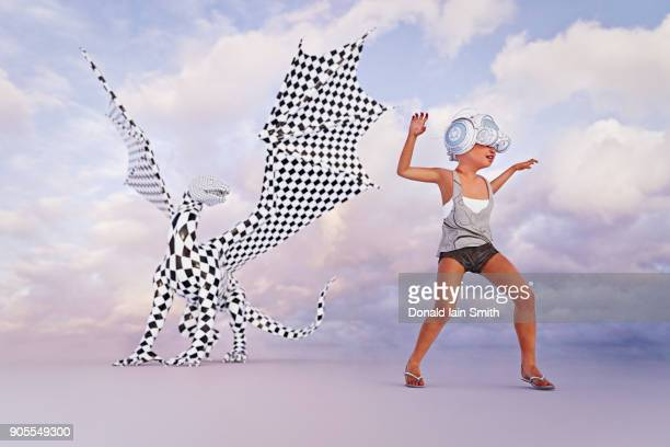 Girl wearing virtual reality goggles imitating dragon