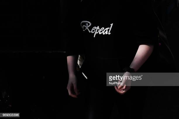 A girl wears ProChoice bumper in relation to the referendum to repeal the eighth amendment of the Irish constitution seen in Dublin's City Center on...