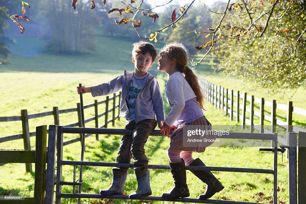 Girl whispering to twin brother whilst climbing over footpath gate : Stock Photo