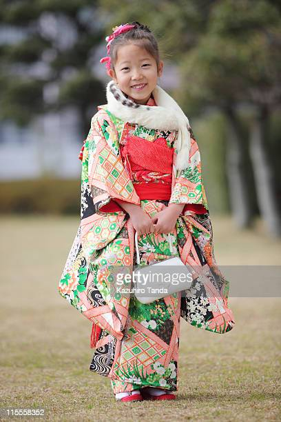 Girl who put on kimono
