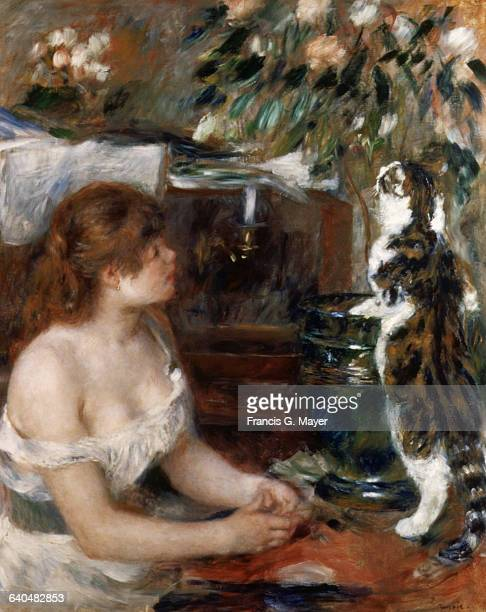 Girl with a Cat by PierreAuguste Renoir
