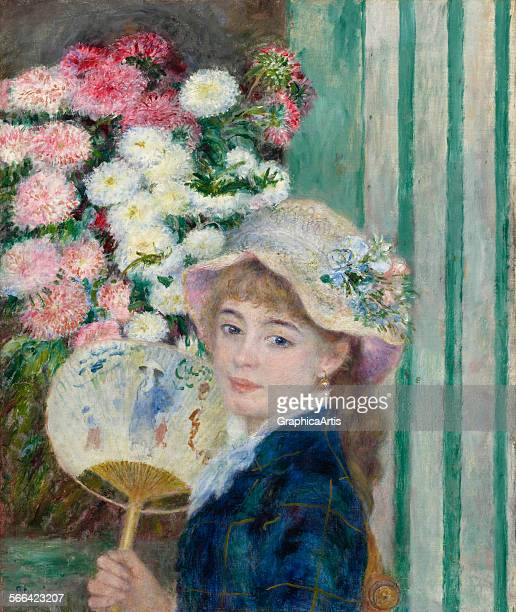 Girl with a Fan by PierreAuguste Renoir oil on canvas circa 1879 from the Sterling and Francine Clark Art Institute Williamstown Massachusetts The...