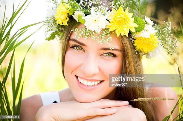 Girl with a flowers on her head