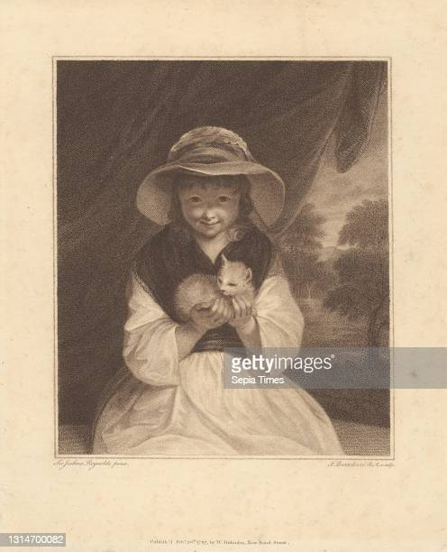 Girl with a Kitten, Print made by Francesco Bartolozzi RA, 1728–1815, Italian, active in Britain , after Sir Joshua Reynolds RA, 1723–1792, British,...