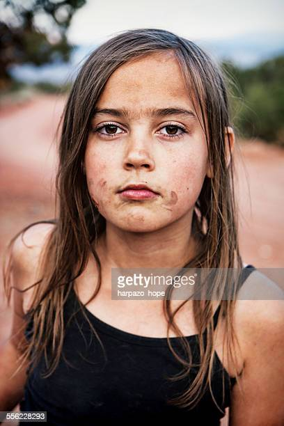 girl with a messy face. - dirty little girls photos stock pictures, royalty-free photos & images