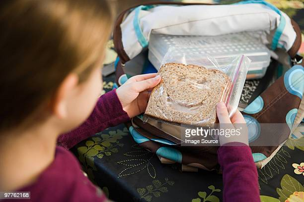 girl with a sandwich - lunch bag stock pictures, royalty-free photos & images