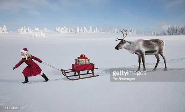 A girl with a sled full of gifts with reindeer