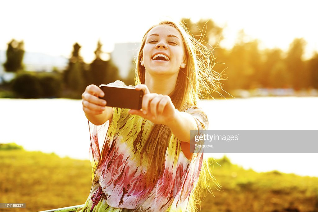 girl with a smartphone : Stock Photo