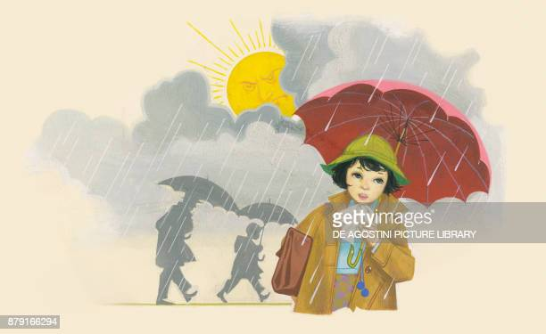 Girl with an umbrella the sun frowning from behind the clouds drawing