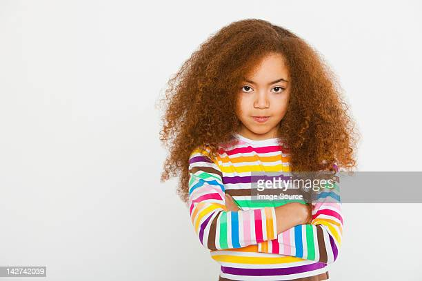 girl with arms crossed - arms crossed stock pictures, royalty-free photos & images