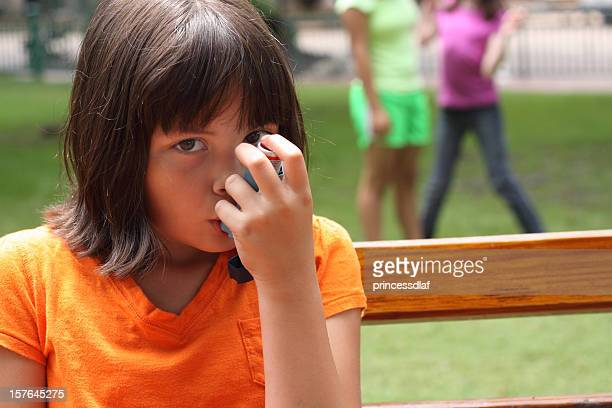 girl with asthma - asthmatic stock photos and pictures