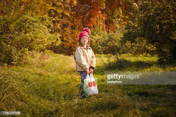 girl with bag of fresh picked apples in orchard - heshphoto stock pictures, royalty-free photos & images