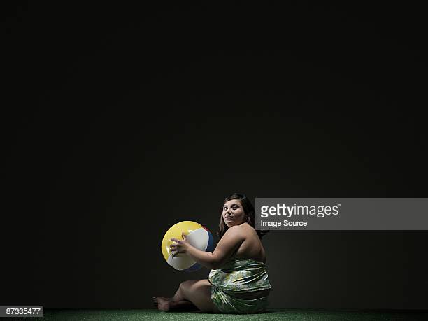 girl with beach ball - fat girls stock photos and pictures