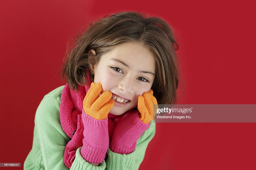 Girl with beautiful mitten : Stock Photo
