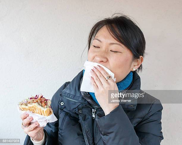 Girl with Berlin-style Doner Kebab