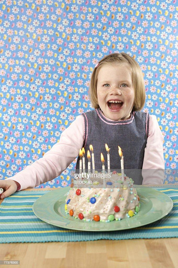 Girl with Birthday cake : Stock Photo