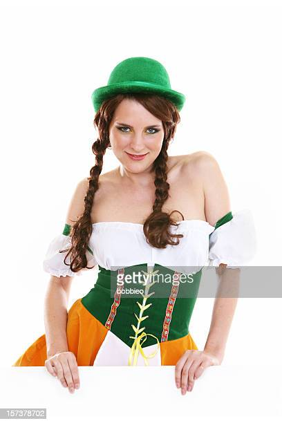 Girl with braids dressed as a beer maiden