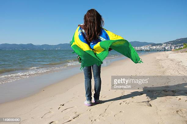 Girl with Brazil flag