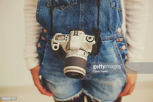 Girl  with camera of photos