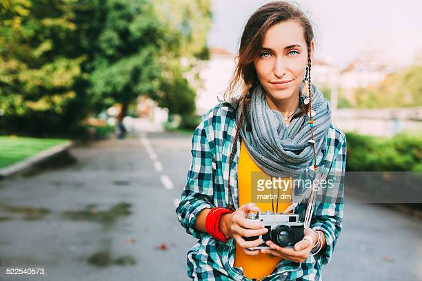 girl with camera - hippie woman stock photos and pictures