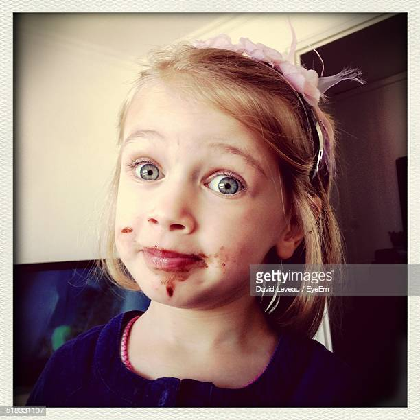 Girl With Chocolate On Her Face