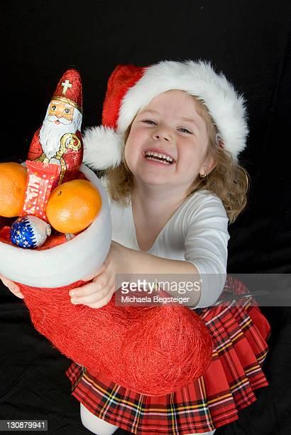 Girl with Christmas stocking