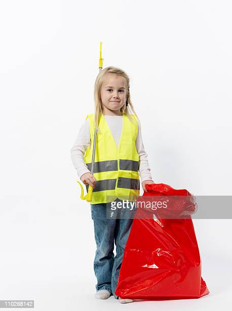 Girl with cleaning gear