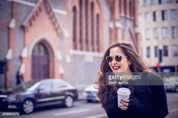 Girl with coffee cup
