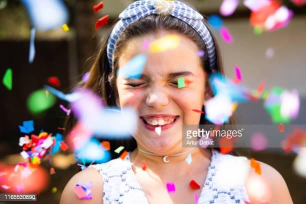 girl with confetti splashing. - flying solo after party bildbanksfoton och bilder