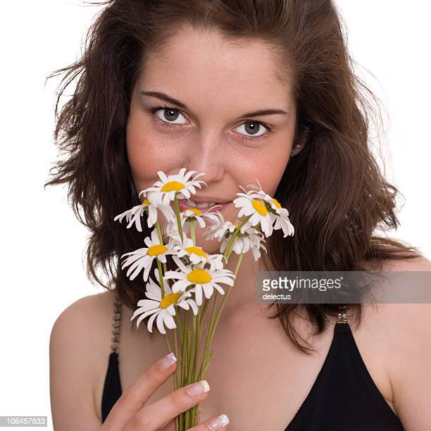 girl with daisies flowers