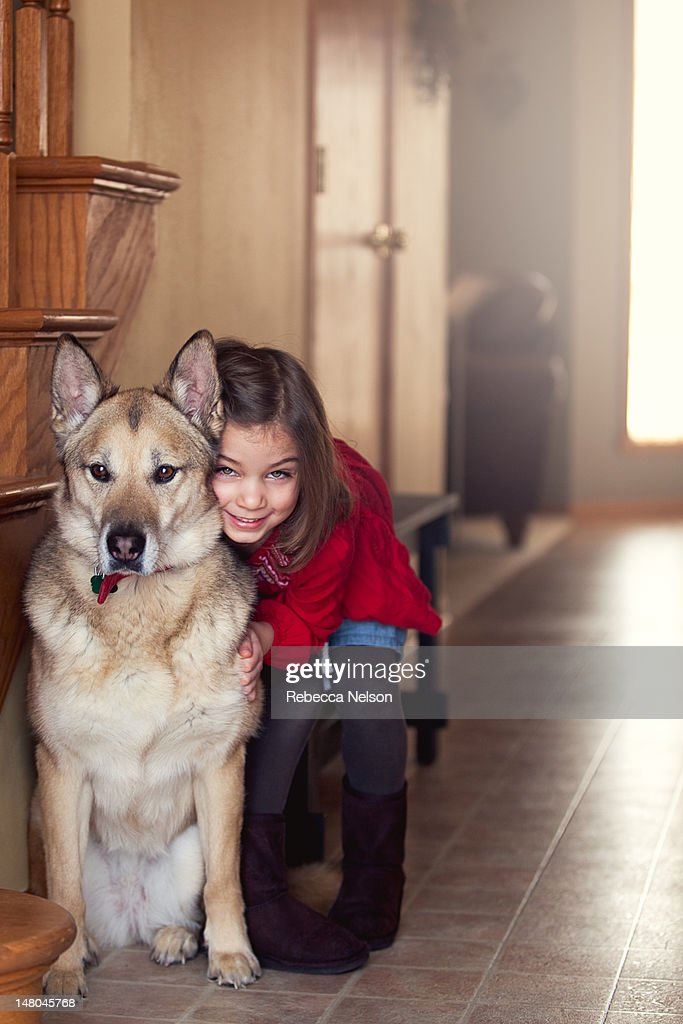 Girl with dod : Stock Photo