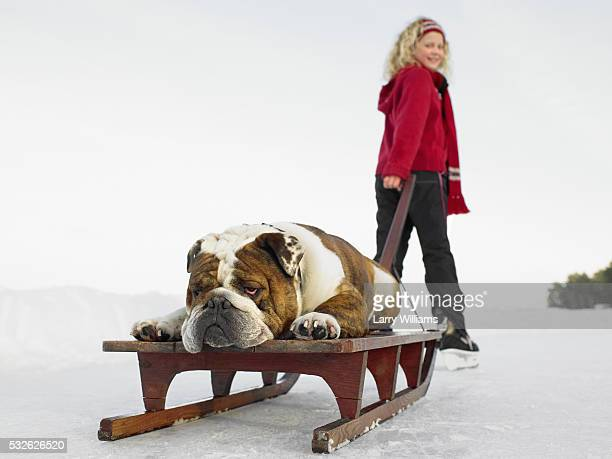 Girl with Dog on Sledge