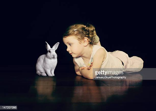 Girl with Easter bunny rabbit