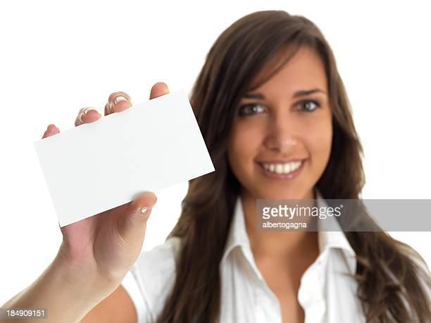 girl with empty business card