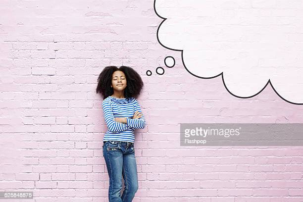 girl with eyes closed and thought bubble - cartoon characters with curly hair stock photos and pictures