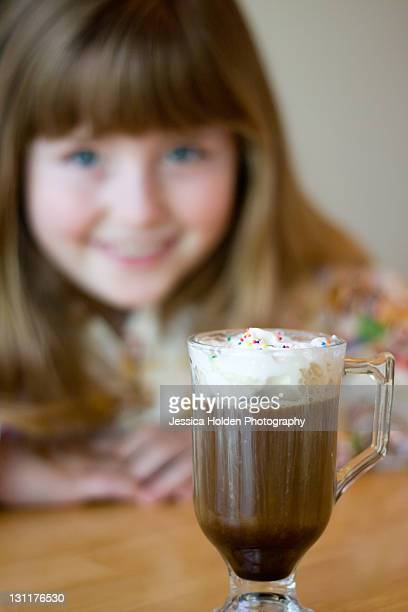 girl with fancy coffee drink - coffee drink stock pictures, royalty-free photos & images