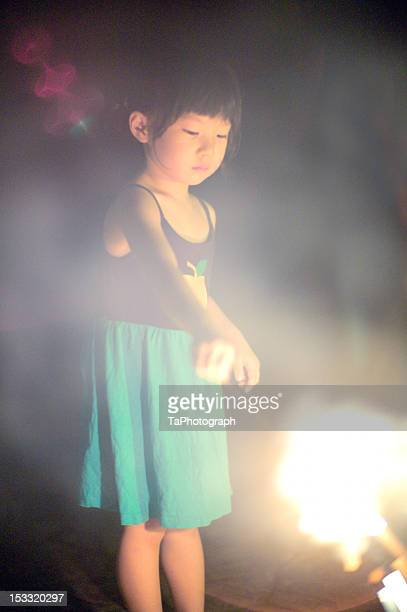 Girl with fireworks