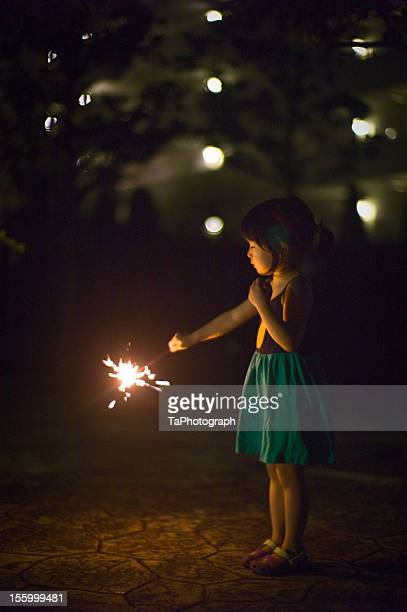 girl with fireworks - japanese girls hot stock photos and pictures