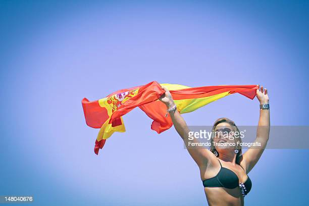 Girl with Flag of Spain