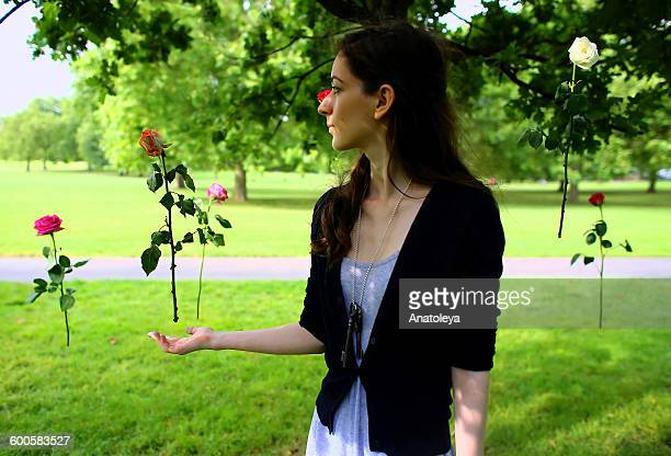 Girl with floating roses