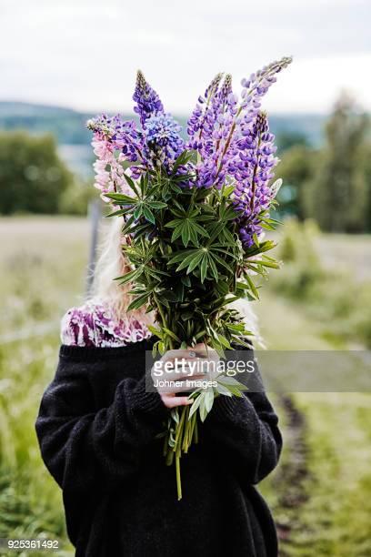 girl with flowers in meadow - plukken stockfoto's en -beelden