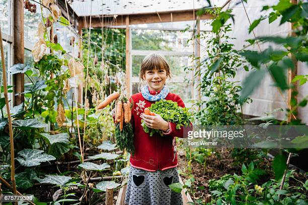 Girl with fresh harvest standing in a greenhouse