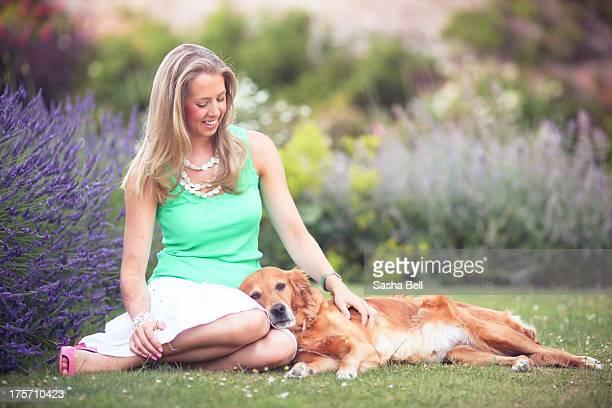 Girl with Golden Retriever Dog.