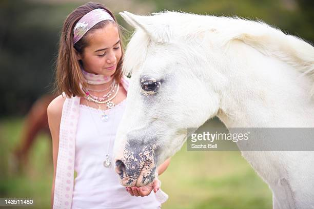 Girl with gray pony