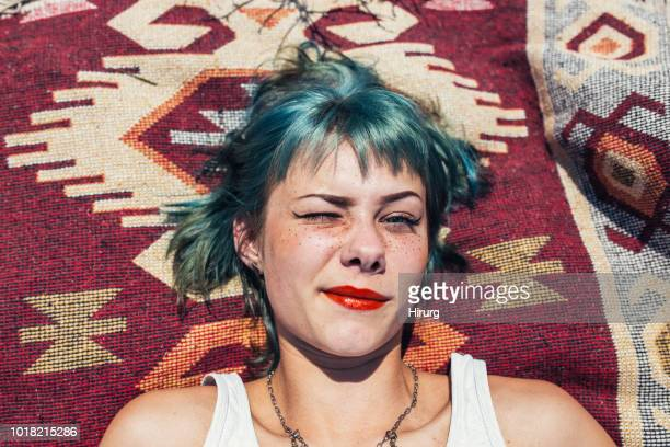 girl with green hair - dye stock pictures, royalty-free photos & images